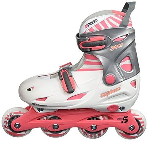 Schreuders Sport Girl Nijdam Polyamide Hard Boot Inline Adjustable Skates - Pink/Anthracite, Size 34 -