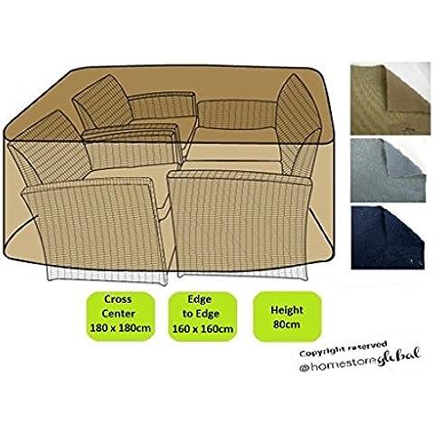 HomeStore Global Funda para grande ratán muebles conjunto - Gruesa y de alta calidad durable 600D poliéster de la lona con costuras cosidas doble para la fuerza adicional, resistente a la humedad
