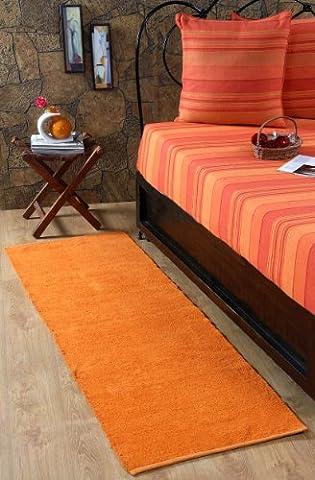Homescapes waschbarer Chenille Teppich Vorleger 66 x 200 cm aus 100% reiner Baumwolle, Farbe: orange, pflegeleicht und
