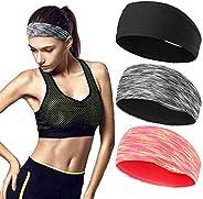 3 PACK Headbands for Men and Women Sweatband & Sports Headband Moisture Wicking Workout Sweatbands for Run