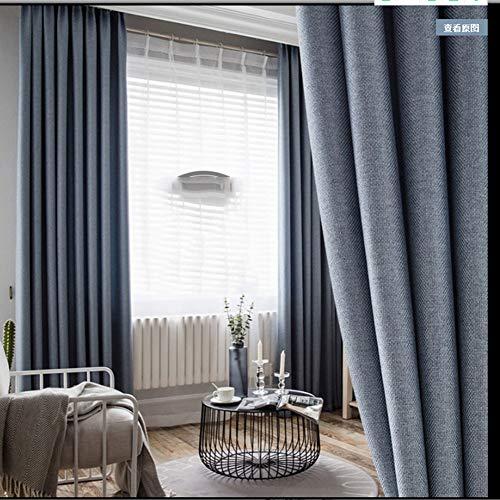 WYLYD Verdunkelbare Baumwollvorhänge, isolierte und undurchsichtige Sichtschutzelemente für Schlafzimmer- / Hotel- / Kindergartenvorhänge, blau-graue 135 * 245 cm 2 -Paneele