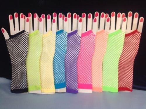 Lange Fischnetz Fingerlose Handschuhe Neon Tutu Hen Party Disco Dance Kostüm 80 S