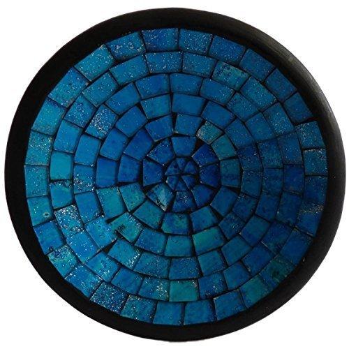 Simandra Mosaikschale Tonschale Glasschale Dekoschale Mosaik Kunsthandwerk Glassteine Deko rund M Color Blau -