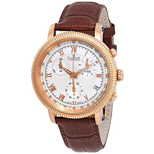 Charmex Men's President II 42mm Brown Leather Band Quartz Analog Watch 2985