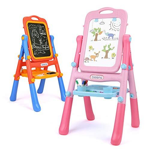 Tavolo da Disegno per Bambini Childs 2 in 1 Learning Desk & Magnetic Easel Blackboard White Board Letters Cavalletto in Legno a Doppia Faccia (Color : Pink)