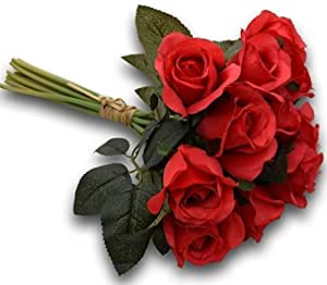 Fourwalls Artificial Rose Bunch (12 Flowers, Red)