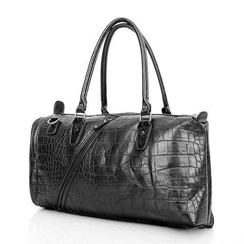 Everdoss Hommes sac à main en cuir PU sac en bandoulière sac d'épaule messager sac de voyage de grande capacité motif crocodile