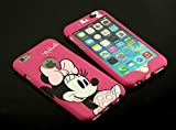 Disney rose Minnie Mouse visage iPhone/Samsung Plaque avant & arrière Housse étui coque, Pink Minnie Mouse, iPhone 6/6S