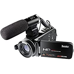 Besteker Videocamera Digitale Portatile Wifi Videocamera Full HD 1080P 30FPS Con Microfono Esterno
