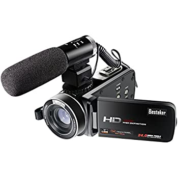 Besteker Wifi Camcorder Full HD 1080P 30FPS Portable Digital Video Camera with External Microphone
