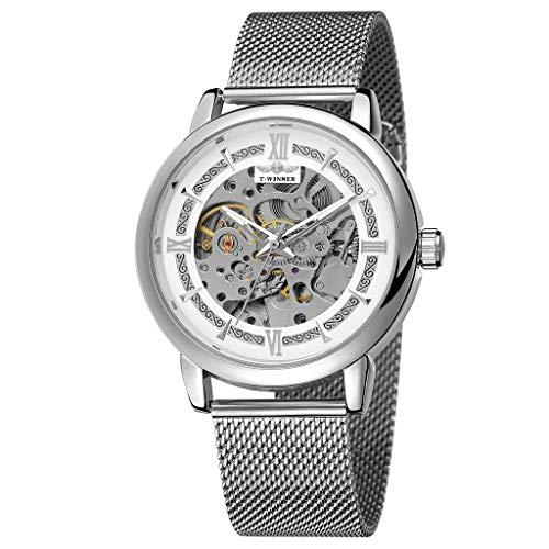 Knowin Herren Hohl Design Business Fashion Herren mechanische Uhr Business Watch Round Fashion Watch Männer Quarzuhr Analoge Uhr Klassische Quarz Armbanduhr Uhren -