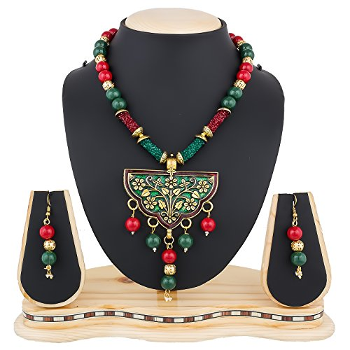 The Luxor Shining Glass Pearls Meenakari Necklace Set For Women And Girls