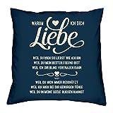 Soreso Design Warum ich Dich Liebe :: Kissen inkl. Füllung :: Romantische Geschenkidee für Verliebte Geschenk für Frauen & Männer Liebe Liebesbeweis Liebeskissen Farbe: Navy-blau