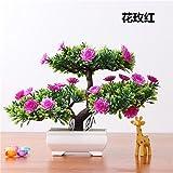 LOF-fei Künstliche Pflanzen Kübelpflanzen Home Dekoration office bonsai Esstisch Zubehör,der rot grün square Keramik Blumentöpfe