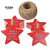 Weihnachtsgeschenk-Etiketten, rote Weihnachtsstern-Tags, 6 cm Frohe Weihnachten und ein glückliches neues Jahr hängen Tags mit 100 Fuß natürlichen Jute-Schnur