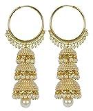 Royal Bling Traditional Jumka/Jhumki Earrings for Women (Gold)