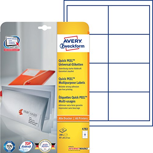 Avery Zweckform 4782 Adressetiketten (A4, 200 Plus 40 Etiketten extra, 97 x 67,7 mm) 30 Blatt, weiß