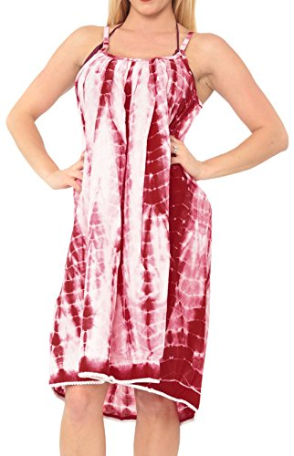 verschleiern weißen Kleid Maxi Bademode sundress Riemchen swimwear tie dye (Weiße Baumwoll-kleid Für Tie Dye)