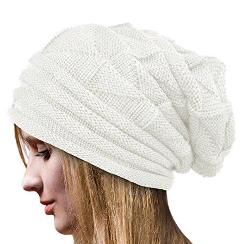 Crochet Invierno Gorro Punto Caliente Cozy Mujeres Grande Sombrero Moda Diseño de Lana Tejer Beanie Warm Caps (Blanco)