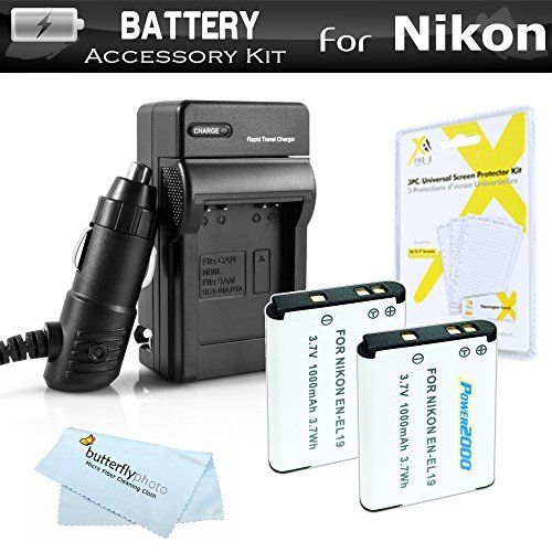 2 Pack Battery And Charger Kit For Nikon Coolpix S3700 S2800 S2900 S33 S7000 S6900 S4300 S6400 S5200 S6500 S4200 Digital Camera Includes 2 Replacement Extended (1000Mah) EN-EL19 Batteries + 110/220 AC/DC Charger + Screen Protectors + More  available at amazon for Rs.2749