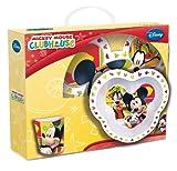 Joy Toy 736095 - Disney Mickey Mouse 3-teilig Set, aus Melamin: 2 Teller und 1 Tasse, in Geschenkpackung