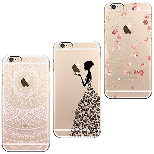 3x Coques , ivencase 3 en 1 Coque Apple iPhone 6, Etui iPhone 6S TPU Silicone Souple Coque Clair Transparent Cover Ultra Mince Gel Doux Soft Case Housse Protection Anti Rayures Motif Mandala + Fleur Pink + Filles Papillon