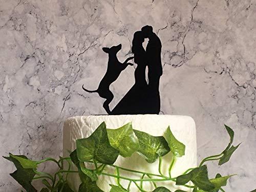 Silhouette Hochzeitstortenaufsatz mit Weimaraner Hund Haustier Hochzeit Deko Acryl Kuchen Dekoration Braut Bräutigam und Hund Tortenaufsatz -