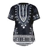 Meijunter Herren Beiläufig afrikanisch Stil Tops Tribal Hemd Gedruckt T-Shirt Traditionell Kleider Kurze Ärmel Dashiki