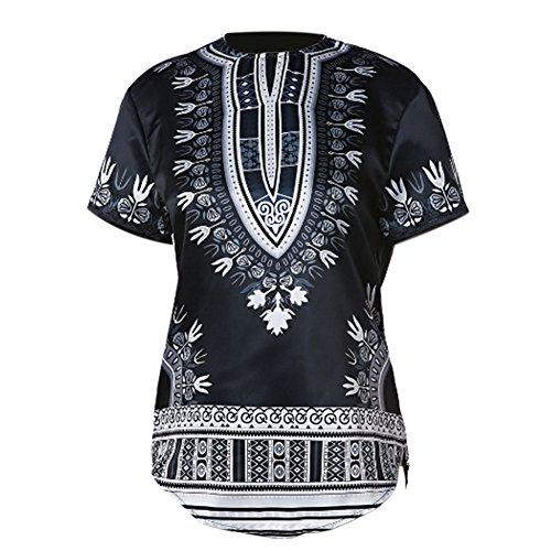 Hzjundasi Herren Beiläufig afrikanisch Stil Tops Tribal Hemd Gedruckt T-Shirt Traditionell Kleider Kurze Ärmel Dashiki