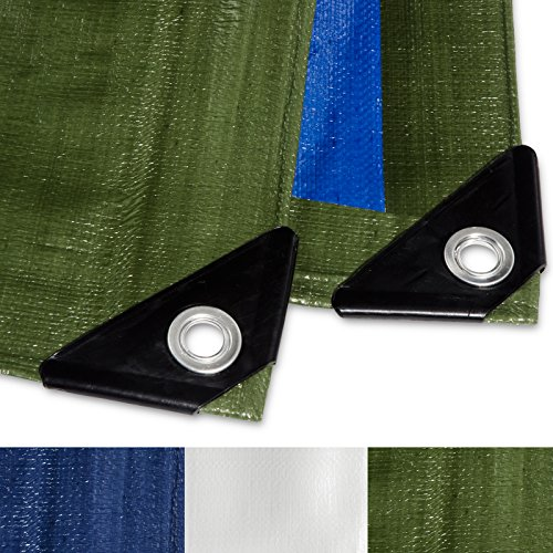 Casa pura telone occhiellato impermeabile e multiuso | blu/verde | 4x6m, 180g/m²