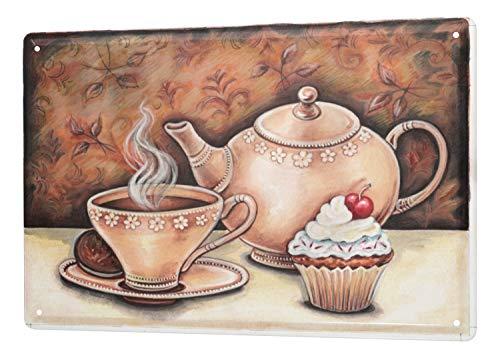 Blechschild Küchen Deko Kaffee Keks Törtchen Cupcake Wand Metall Schild 20X30 cm