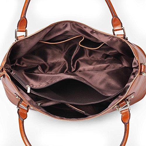 SAIERLONG Femmes Style Européen Et Américain Noir Première Couche De Cuir Sacs portés main Épaule Messenger Bag Cross Body Sac à main vintage Noir