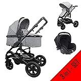 Cynebaby Kombi-Kinderwagen 3in1 (Kombi-Kinderwagen 3in1 mit Babyschale grau)