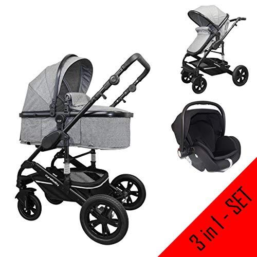 *Cynebaby Kombi-Kinderwagen 3in1 (Kombi-Kinderwagen 3in1 mit Babyschale grau)*