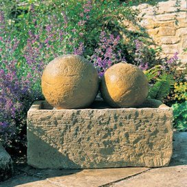 Gartentraum Garten Springbrunnen mit Kugel - Burgund, Ocker