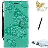 TOUCASA Motorola Moto X Style Handyhülle,Motorola Moto X Style Hülle, Brieftasche Flip PU Leder Kartenfächer 3D Butterfly 3D Schmetterling Embossed Technology fürMotorola Moto X Style(Grün)