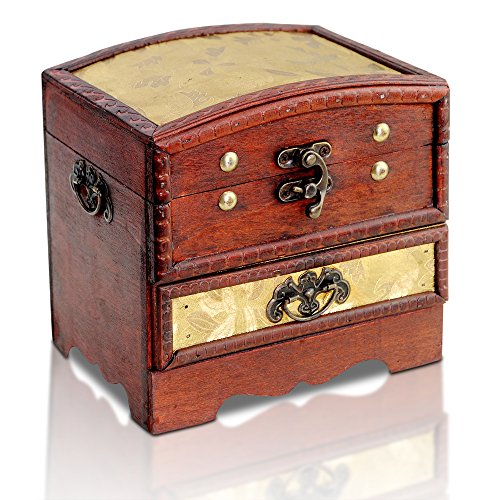 Brynnberg scrigno del tesoro vintage bauletto stile antico per accessori gioielli oggetti di valore, cassaforte in legno, idea regalo decorativa 15x12x15cm