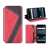 MOBESV Smiley Nokia 6 Hülle Leder, Nokia 6 Tasche Lederhülle/Wallet Case/Ledertasche Handyhülle/Schutzhülle mit Kartenfach für Nokia 6, Rot/Dunkel Violett