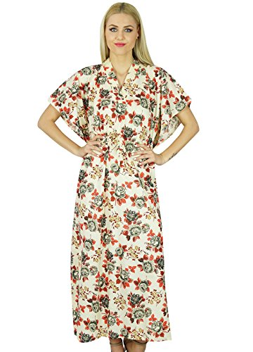 bimba-femmes-long-maxi-kaftan-caftan-coton-blanc-floral-robe