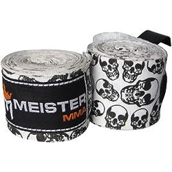 """Meister, Vendaje elástico de algodón para artes marciales mixtas (AMM) y boxeo, 4,5 m (un par), mujer niña hombre Niños, color Death Skulls, tamaño 180"""" x 2"""" (Pair)"""