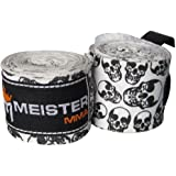 """Meister 180"""" Elastic Cotton Hand Wraps for & Boxing MMA (Pair), Chicas niño mujer Hombre, Multicolore - Death Skulls"""