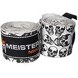 """Meister 180"""" Vendas para Manos de algodón elásticas para MMA y Boxeo (Par) - Calaveras de la Muerte"""