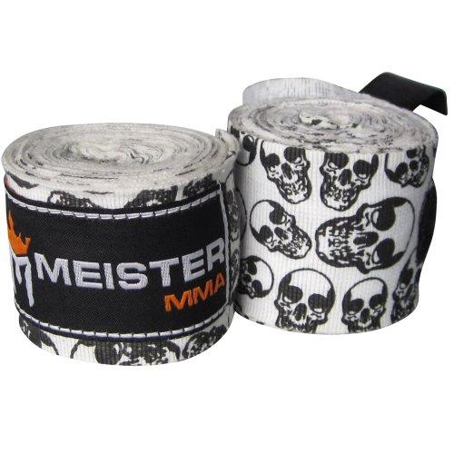 Meister 457,2 cm algodón elástico vendas para MMA y boxeo (par) Varios colores Death Skulls Talla:180' x 2' (Pair)