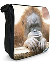 Orangutan Monkey Primates Animal Small Black Canvas Shoulder Bag - Size Small