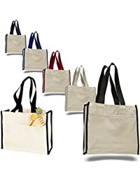 Heavy Canvas Reusable Tote Bags With Front Pocket, Side And Bottom Gussets, Fancy Looking Plain Tote Bags, 100%...