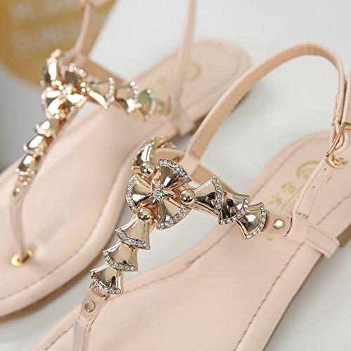 SUNAVY Damen Slingback Römer Sandalen Flip-Flops Sommer Strand Schuhe mit Süß Bling Metall Glocke (EU33 - EU39) Beige