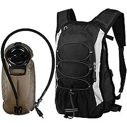 Vbiger Sac de Sport Sac Hydratation avec Poche à Eau 2,5L Unisex Noir