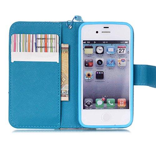 MOONCASE Étui pour iPhone 4 / 4S Printing Series Coque en Cuir Portefeuille Housse de Protection à rabat Case YB12 A02 #1117