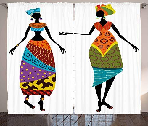 ABAKUHAUS afrikanische Frau Rustikaler Vorhang, Stammes-Kostüme, Wohnzimmer Universalband Gardinen mit Schlaufen und Haken, 280 x 175 cm, Mehrfarbig