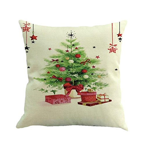 Christmas Pillow Case Cushion Cover Mingfa Soft Sofa Bed Home Square Throw Pillow Covers 18 x 18 mas Theme (K)